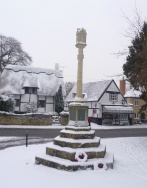 war memorial in the snow